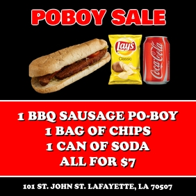SAUSAGE PO-BOY SALE FUNDRAISER FLYER