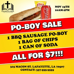 SAUSAGE PO-BOY SALE FUNDRAISER FLYER TEMPLATE
