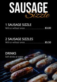 Sausage sizzle menu A4 template