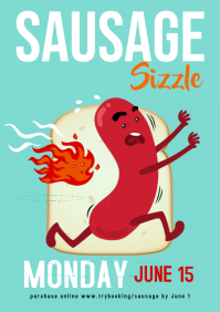 Sausage sizzle poster Run flyer A4 template