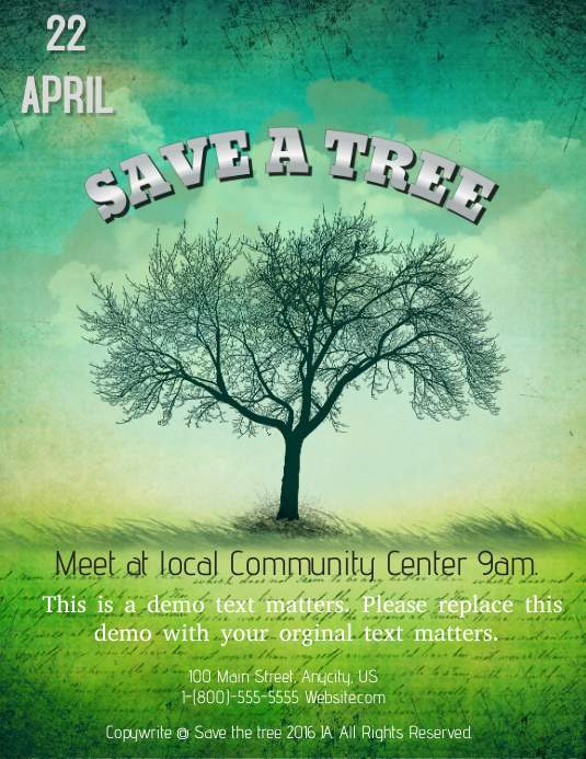 Save a Tree Pamflet (Letter AS) template