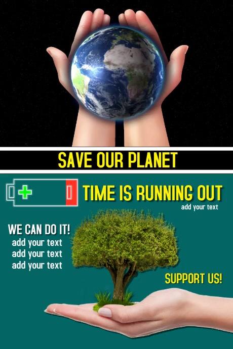 Save our Planet Cartel de 4 × 6 pulg. template