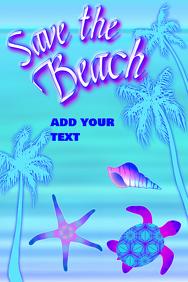 Save the beach turtle seastar seashell