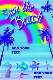 Save the beach turtle seastar seashell seahor
