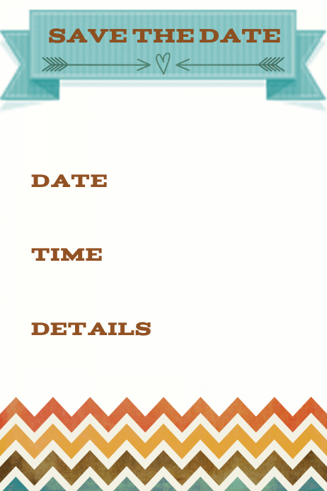 Save the date announcement invitation chevron fall