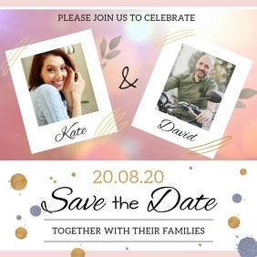 Save the date card Square (1:1) template