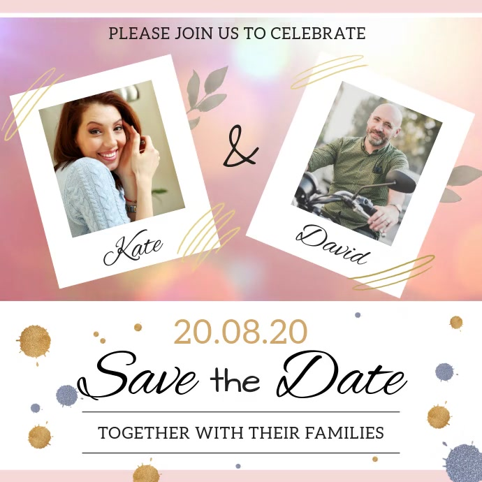 Save the date card Persegi (1:1) template