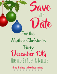 Save the Date Christmas Iflaya (Incwadi ye-US) template
