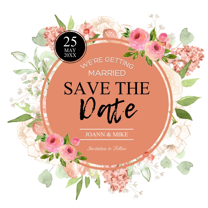 save the date Vierkant (1:1) template