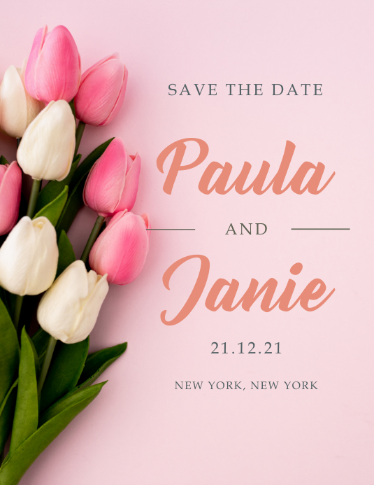 Save the Date - Elegant, Tulips