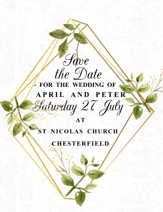 Save the Date Invitation Template Volante (Carta US)