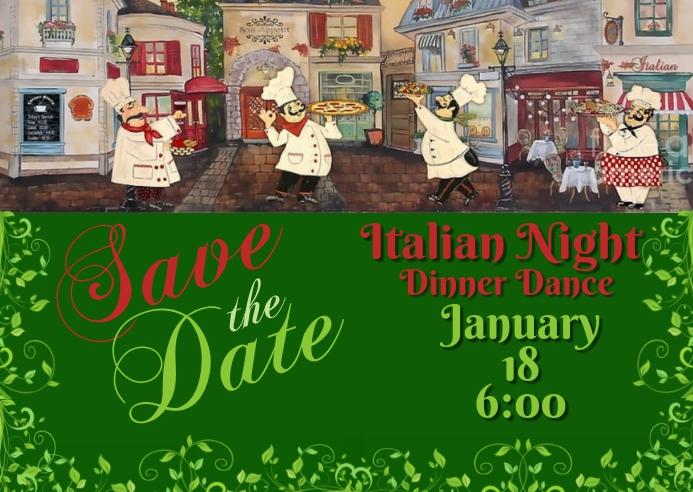 Save the Date Italian Dinner Dance 明信片 template