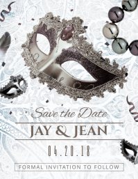 Save The Date Masquerade Wedding Card