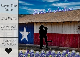 Save the date postcard/wedding/anniversary/texas