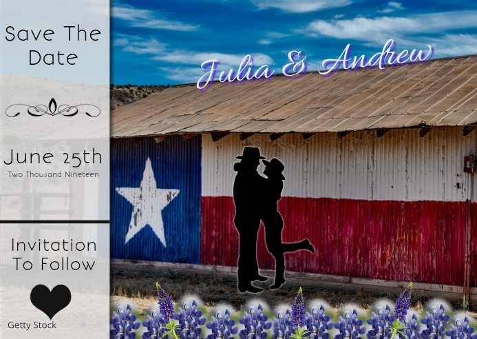 Save the date postcard/wedding/anniversary/texas