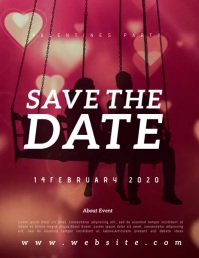 SAVE THE DATE valentine party TEMPLATE Løbeseddel (US Letter)