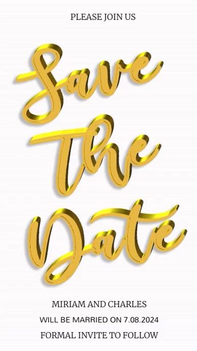 Save The Date Video Template Pantalla Digital (9:16)