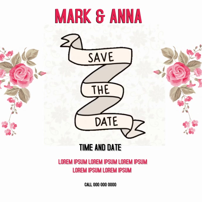 SAVE THE DATE WEDDING CARD CARDS SOCIAL MEDIA Template