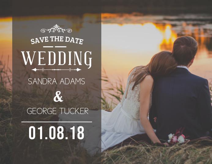 Save The Date Wedding Card Template Рекламная листовка (US Letter)