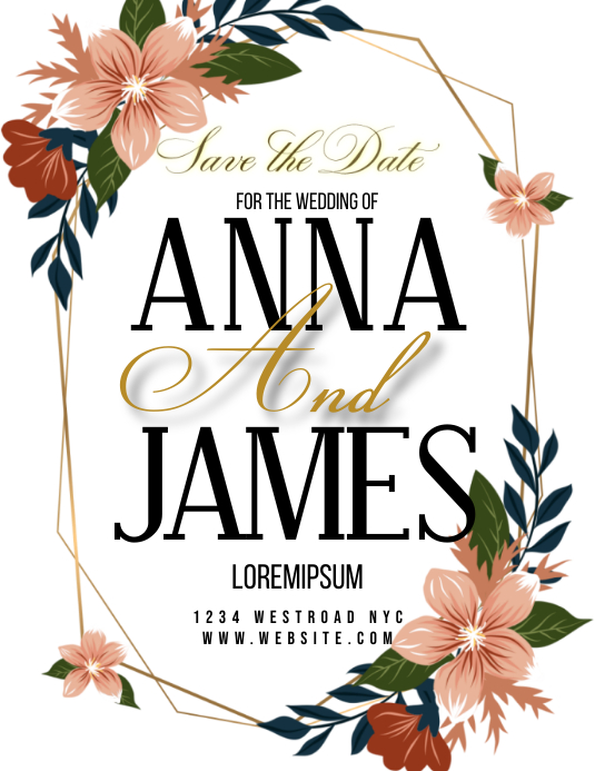 SAVE THE DATE WEDDING FLYER TEMPLATE ใบปลิว (US Letter)