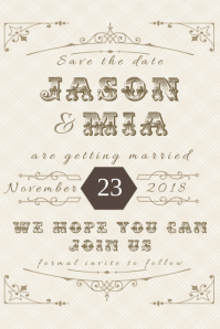 Save The Date Wedding Invitation Announcement Formal