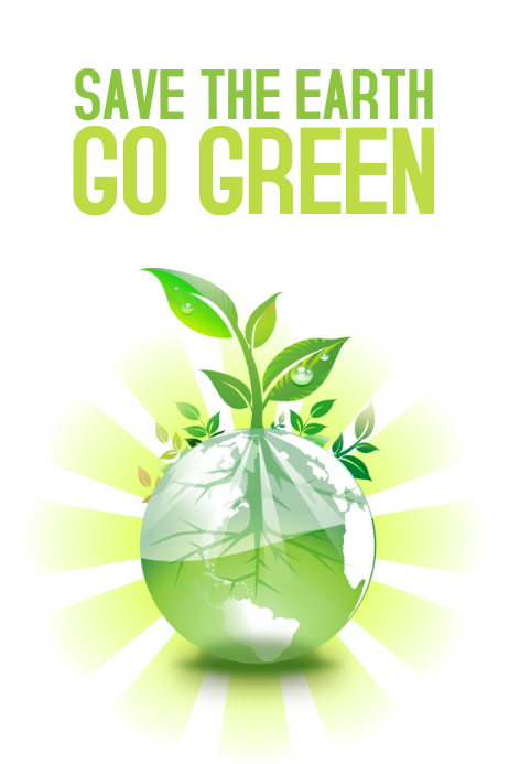 save the earth go green poster template