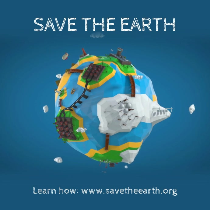 Save the earth instagram post video template Quadrado (1:1)