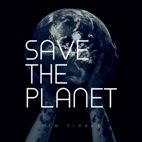Save The Planet Single Music Dark CD Cover template