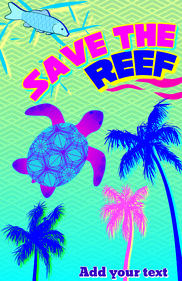 Save the reef - sea sea turtle & tropical palm trees template