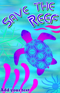 save the reef - sea turtle & ocean reef template