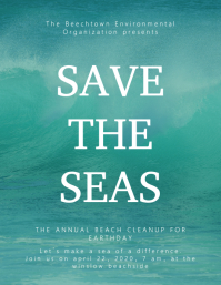 Save The Seas Earth day Flyer Template