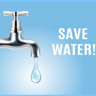 Save water faucet realistic compositon Instagram Post template