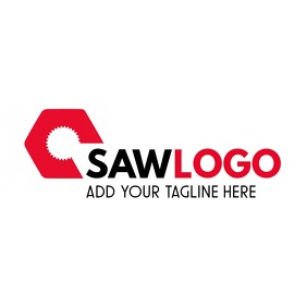 Saw icon logo black and red colors template