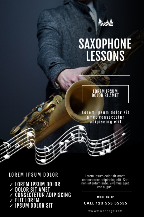Saxophone lessons Flyer Design Template