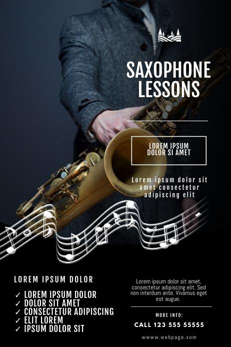 Saxophone lessons Flyer Design Template