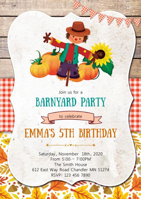 Scarecrow fall birthday party invitation
