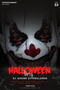 Scary Clown Halloween Party Template Poster