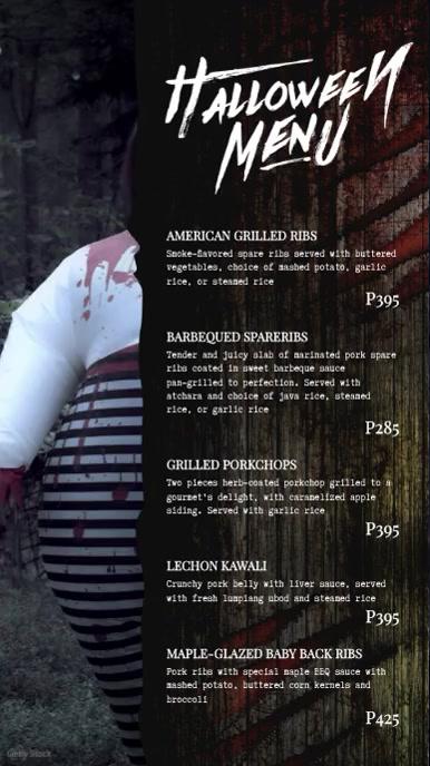 Scary Halloween Digital Display Menu Template