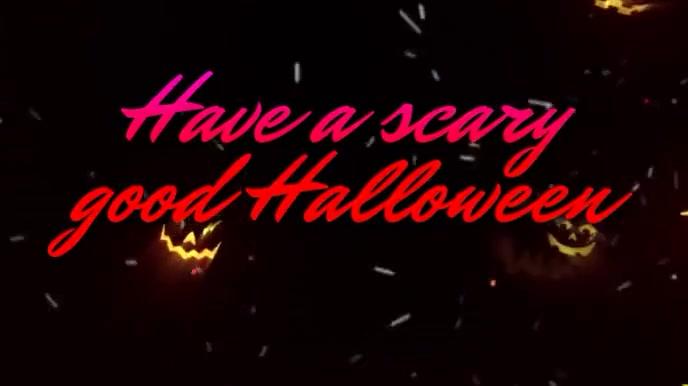 Scary Halloween Pumpkins Music Video Digitalt display (16:9) template