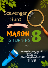 Scavenger Hunt birthday party invitation A6 template