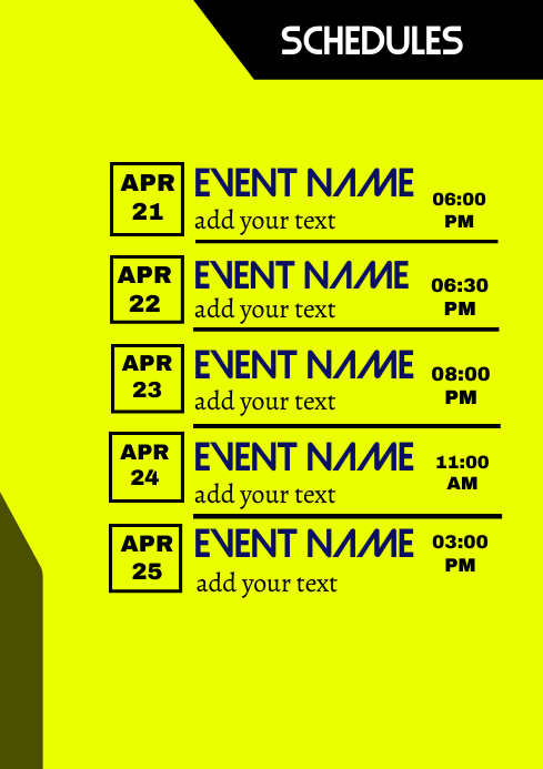 Schedules Flyer Template A3