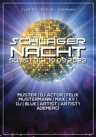 Schlager Party Nacht German Deutsch Event Disco Retro Oldies A4 template