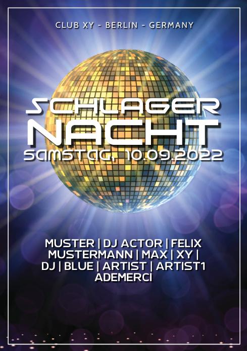 Schlager Party Nacht German Deutsch Event Disco Retro Oldies A4 template