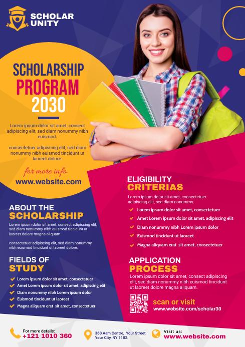 Scholarship program Flyer Template   PosterMyWall