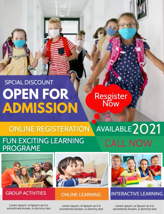 School admission, back to school ใบปลิว (US Letter) template