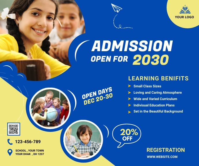 School admission banner Large Rectangle template