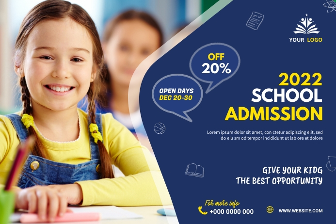 School admission banner post 横幅 4' × 6' template