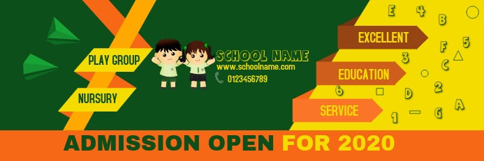School Admission Banner Template Postermywall