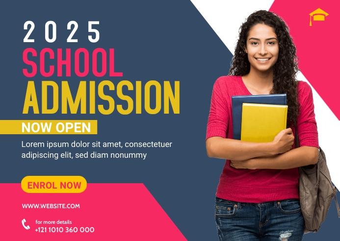 School Admission Banner Template Briefkaart
