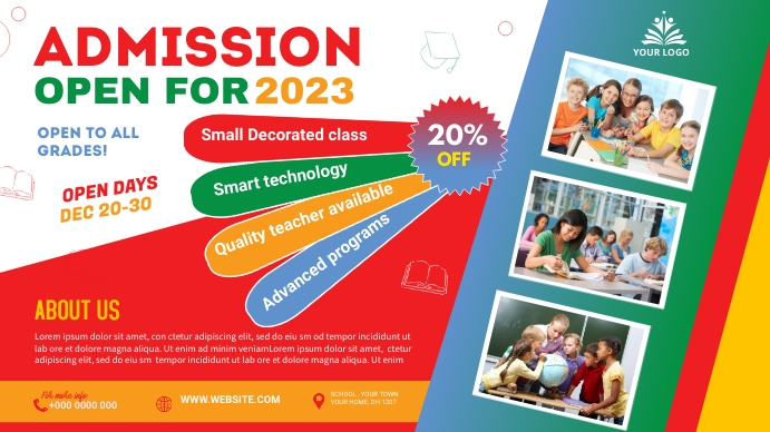 School admission Digitale display (16:9) template
